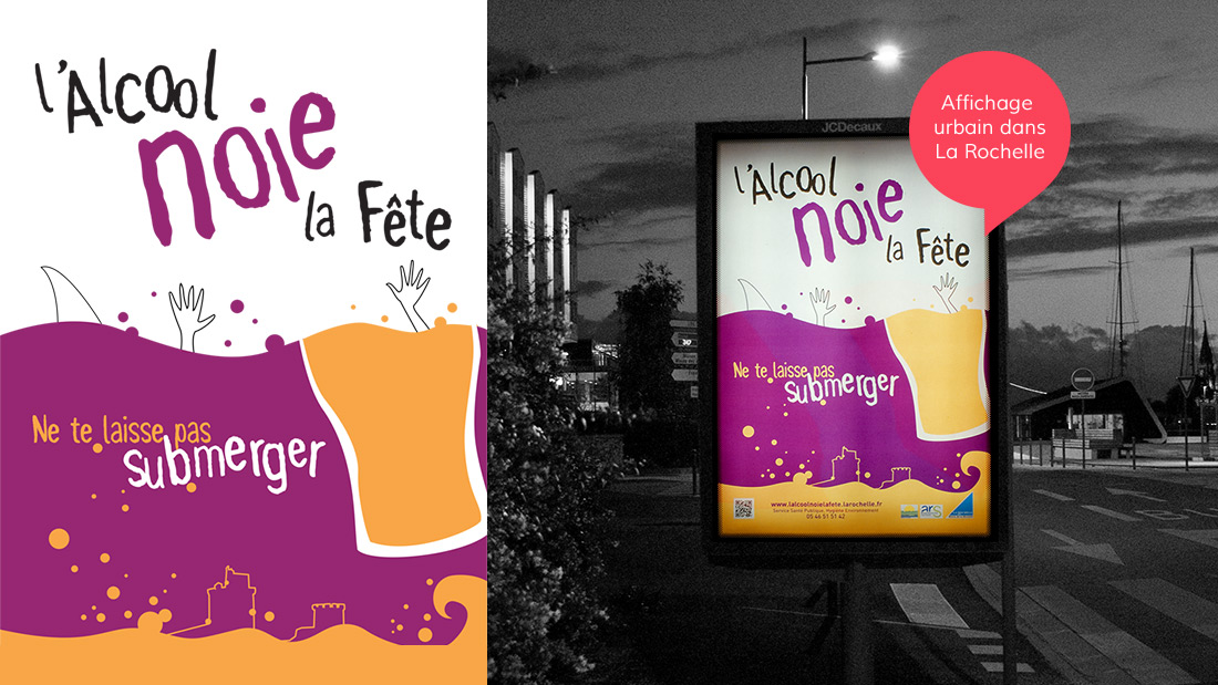 L'Alcool Noie la Fête - Affiche sucette MUPI dans la Ville de La Rochelle